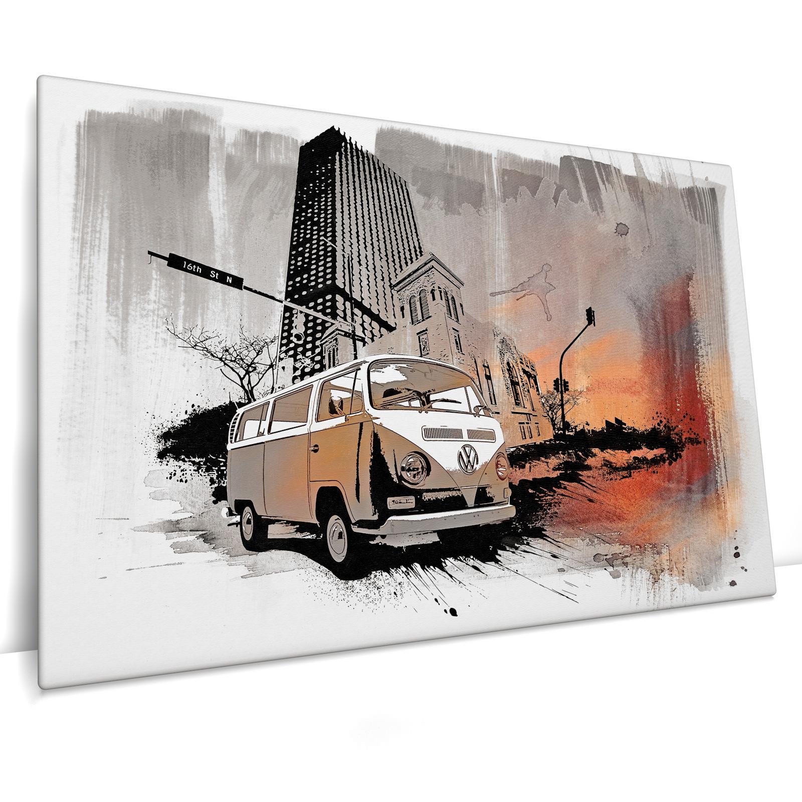 türkis Bild auf Leinwand Keilrahmen Poster XXL 120 cm*80 cm 515 VW Bulli sw