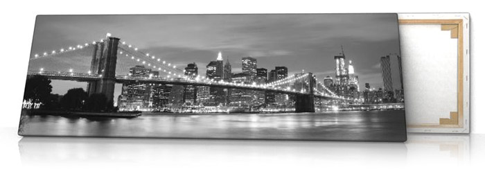 brooklyn bridge sw leinwand bild auf keilrahmen new york panorama ebay. Black Bedroom Furniture Sets. Home Design Ideas