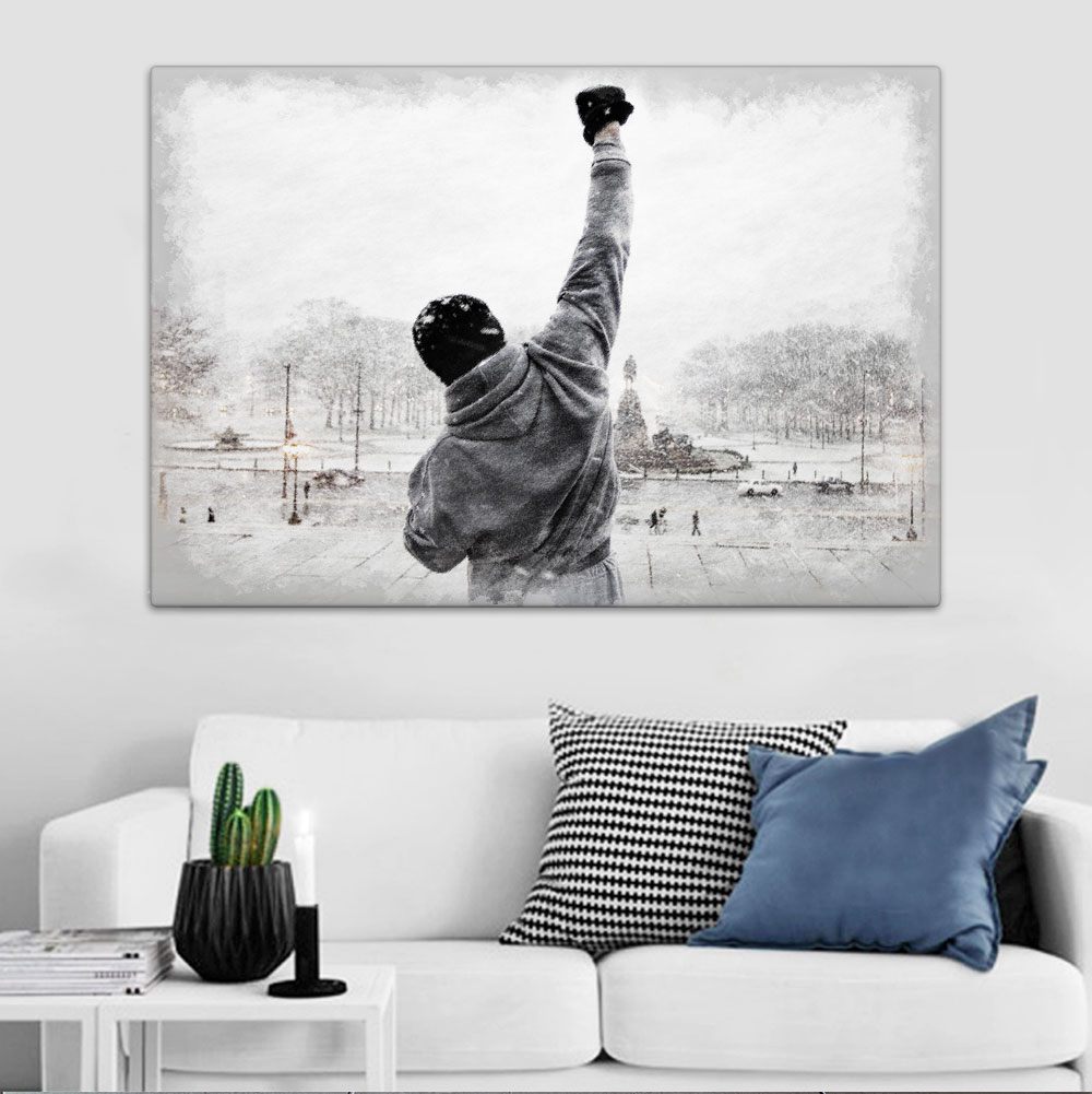 rocky balboa leinwand bild auf keilrahmen wandbild poster sylvester stallone ebay. Black Bedroom Furniture Sets. Home Design Ideas