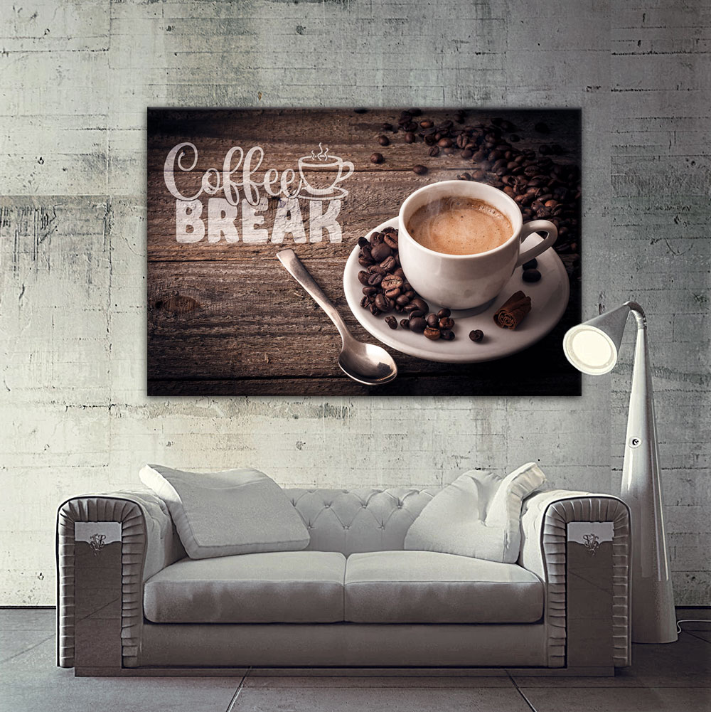 kaffee leinwand bild auf keilrahmen bilder kaffeebohnen kaffeetasse poster ebay. Black Bedroom Furniture Sets. Home Design Ideas